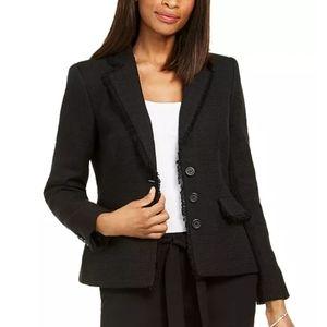 🆕 karl Lagerfeld tweed button up jacket size 4 black